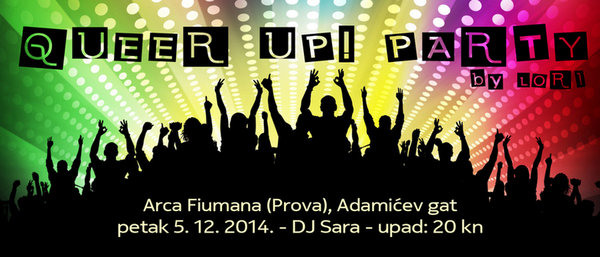 Vizual za Queer Up party iz prosinca 2014.
